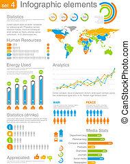 infographics, elementos, conjunto
