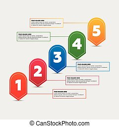 Infographics elements. Five steps process