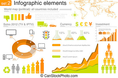 Infographics elements with icons For business and finance reports, statistics, diagram graph. Multicolor. Media style.