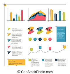 Infographics flat elements. Folder with diagrams, speech...