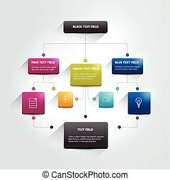 infographics, flowchart., 有色人種, 影, scheme.