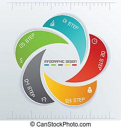 infographics, geschaeftswelt, fünf, etiketten