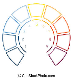 infographics, halbkreis, für, neun, zahl, optionen