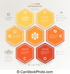 Infographics Hexagon design template with business icons, process diagram, vector eps10 illustration