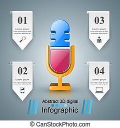 infographics., icon., business, microphone
