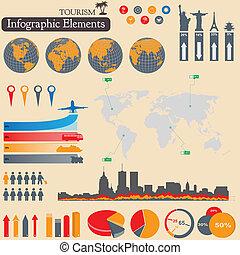 infographics., idegenforgalom, utazás