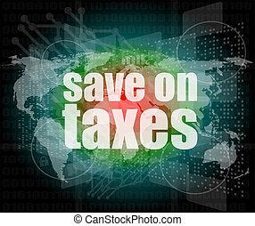infographics, impôts, écran, mots, numérique, toucher, ...