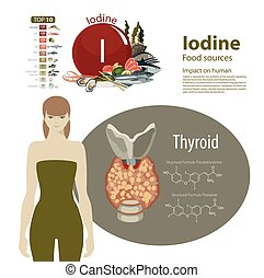 Iodine. - Infographics. Iodine. Food sources and influence...