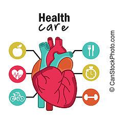 infographics, közül, kardiológia, tervezés