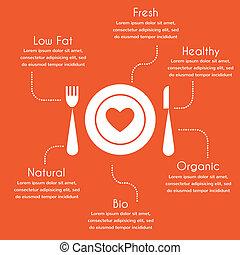 infographics, közül, szerves, és, egészséges táplálék
