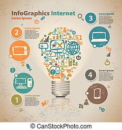 Infographics light bulb with cloud of application icon