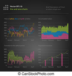 infographics, line and area charts of revenues and expenses
