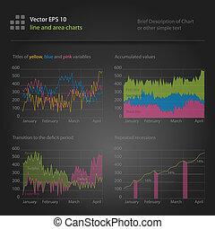 infographics, linie, und, bereich, tabellen