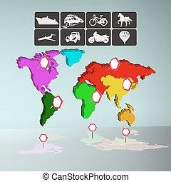 infographics, mapa del mundo, con, iconos, de, transporte