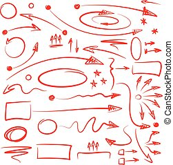 Infographics Marker Arrows - Set of hand drawn arrows and...
