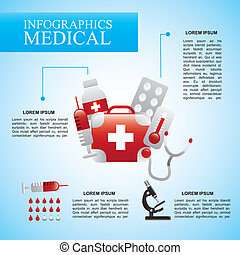 infographics medical over blue background vector...