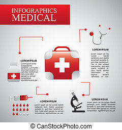 infographics medical over gray background vector...