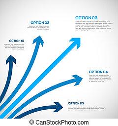 infographics, modelo, com, arrows.