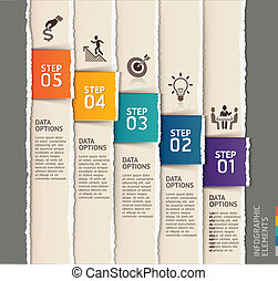 infographics, modelo, rasgado, paper.