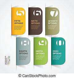 infographics, moderno, opzioni, numero