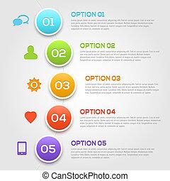 infographics, modernos, template., opções