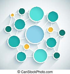 Infographics network flat design scheme with blue, green and yellow circles on light grey background