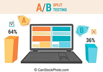 Vector concept of split testing a-b comparison. Laptop with graphics, percentage figures and pointers good and bad. Flat style. Web infographics