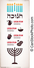 Infographics of famous symbols for the Jewish Holiday Hanukkah . hanukkah in hebrew