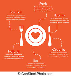 infographics of organic and healthy food on red