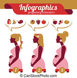Infographics of pregnancy trimesters. Silhouettes of pregnant woman and foodstuffs