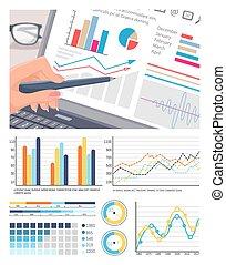infographics, op, draagbare computer, scherm, analyse, van, data
