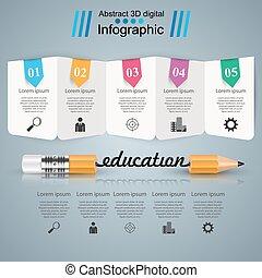 infographics., opleiding, zakelijk, potlood, illustration.