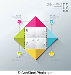 Infographics Origami colorful paper