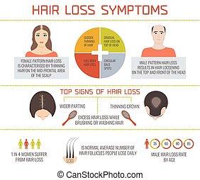 infographics, pérdida, pelo, síntomas
