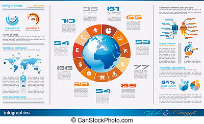 infographics page with a lot of design elements like chart, ...
