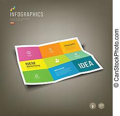 infographics, papper, hoplagd, färgrik