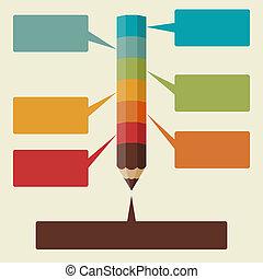 infographics, pencils., färbte hintergrund, kreativ
