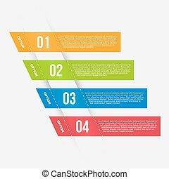 infographics, plantilla, con, banderas