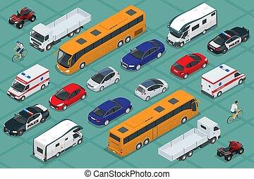 infographics, plat, isometric, transport., auto, set., publiek, hoog, spel, ontwerp, vervoeren, vracht, kwaliteit, stad, stedelijke , pictogram