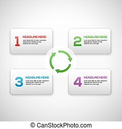 Infographics process template with set of numbers. With arrows and 3D boxes.