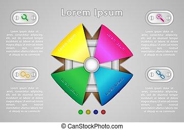 infographics, quatro, opções, para, apresentação, em, a, pointpoint, conceito