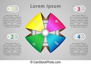 infographics, quatro, posições, para, apresentação, em, a, pointpoint, conceito