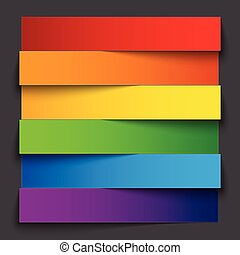 Infographics rainbow paper stripe banners with shadows on dark grey background. RGB EPS 10 vector illustration