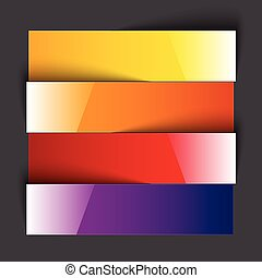 Infographics rainbow shiny paper stripe banners with shadows...