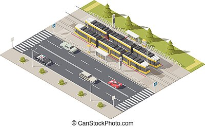 Infographics representing the tram station side of the road isometric icon set