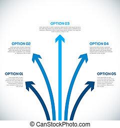 infographics, sagoma, con, arrows.