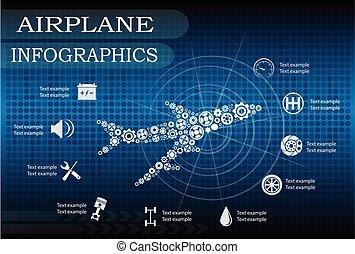 infographics, samolot, wektor, illustration.