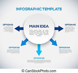 infographics, schablone, mit, pfeile, und, 3d, circle.