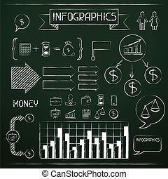 infographics, set, icons., affari, lavagna