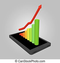 Infographics showing growth in sales of smartphones. The increase in profits. Schedule to increase profits. Smartphone with Infographic design template, vector